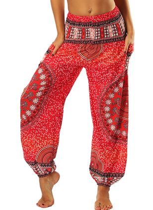 Casual Straight Pockets Mid Waist Polyester Pants (4046167)