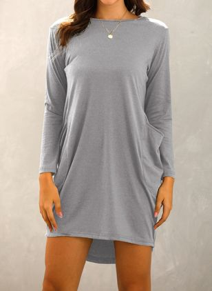 Casual Solid Tunic Round Neckline Shift Dress (5502365)