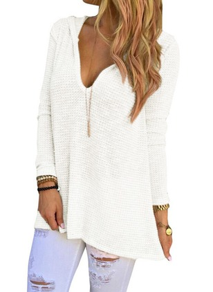 V-Neckline Solid Long Others A-line Sweaters