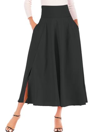 Solid Mid-Calf Casual Sashes Skirts (4663382)