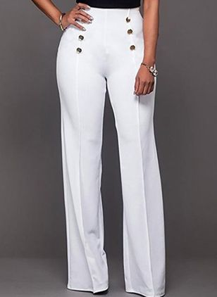 Elegant Loose Buttons High Waist Polyester Pants (146893193)