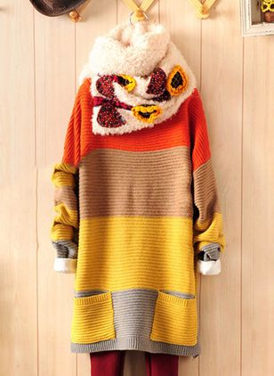 Others Color Block Loose Long Shift Sweaters