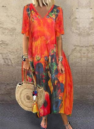 Boho Floral V-Neckline Short Sleeve Maxi Dress (101102532)