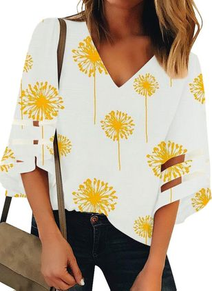 Floral Casual V-Neckline 3/4 Sleeves Blouses (4072064)
