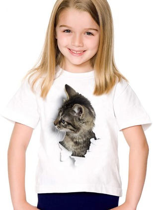 Girls' Animal Round Neckline Short Sleeve Tops