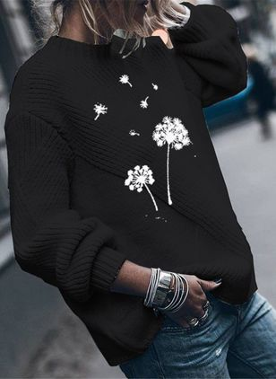 Round Neckline Floral Casual Regular Shift Sweaters (118207646)