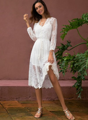 Floral Hollow Out Long Sleeve Midi A-line Dress
