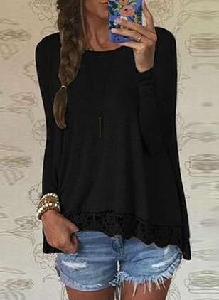 Cotton Solid Round Neck Long Sleeve Casual T-shirts (1173185)