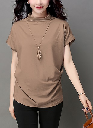 Cotton Solid High Neckline Short Sleeve Casual T-shirts