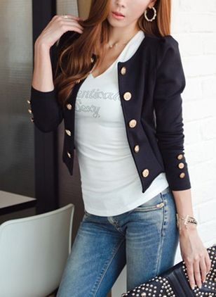 3/4 Sleeves Round Neck Buttons Coats Jackets