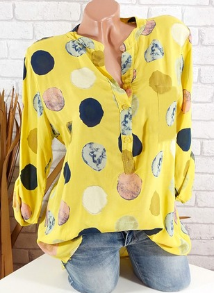 Polka Dot Casual Polyester Collar Long Sleeve Blouses