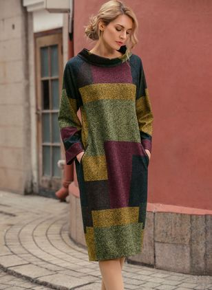 Color Block Pockets Long Sleeve Midi Shift Dress