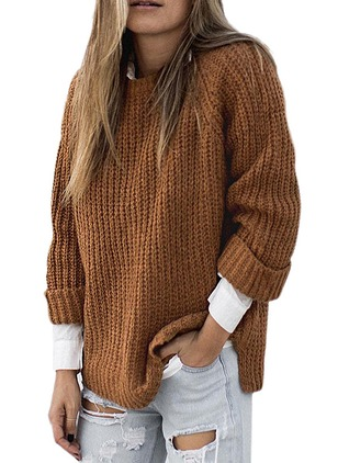Cotton Blends Round Neckline Solid Loose None Sweaters