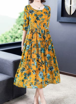Casual Floral Tunic Round Neckline A-line Dress (104917404)