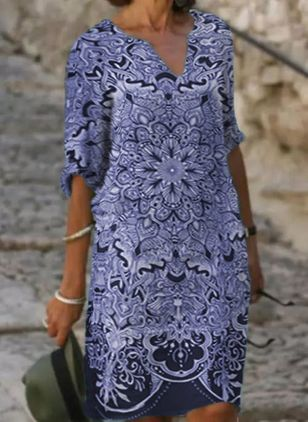 Casual Floral V-Neckline Half Sleeve Knee-Length Dress (101923964)