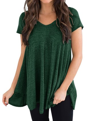 Cotton Solid V-Neckline Short Sleeve T-shirts
