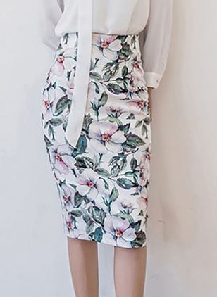Floral Knee-Length Elegant None Skirts