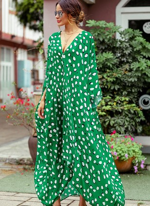 Polka Dot V-Neckline Long Sleeve Maxi Shift Dress