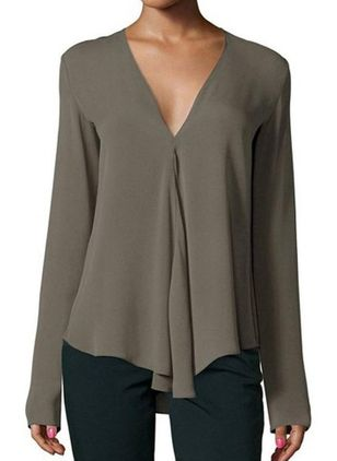 Solid Casual V-Neckline Long Sleeve Blouses (122031439)