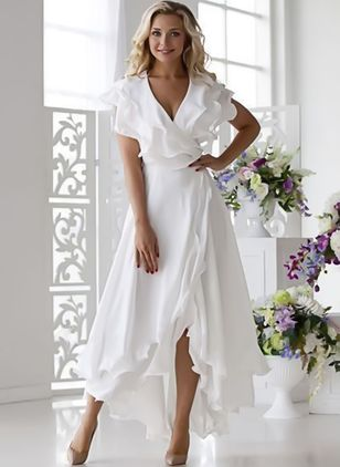 Solid Ruffles Short Sleeve High Low X-line Dress