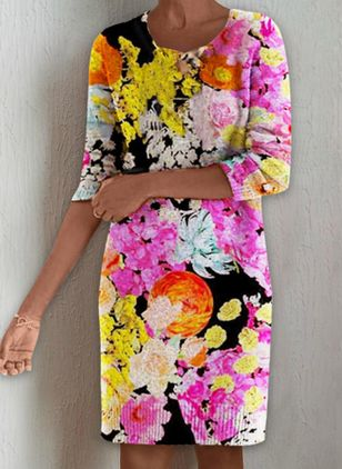 Casual Floral Tunic Round Neckline Shift Dress (101530284)