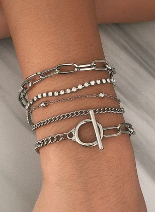 Casual Round Crystal Link Bracelets (4073962)