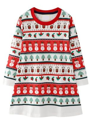 Girls' Christmas Geometric Daily Long Sleeve Clothing Sets (118208044)