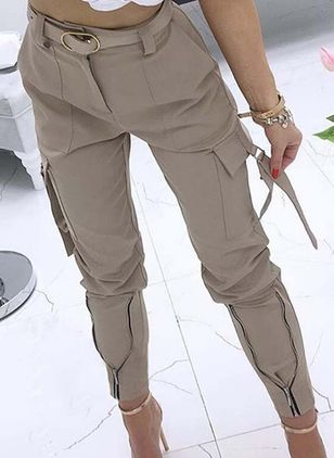 Casual Skinny Pockets High Waist Polyester Pants (111109938)