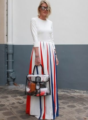 Color Block Long Sleeve Maxi X-line Dress