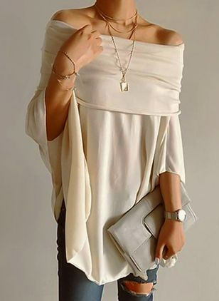 Boat Neckline Solid Loose Long None Sweaters