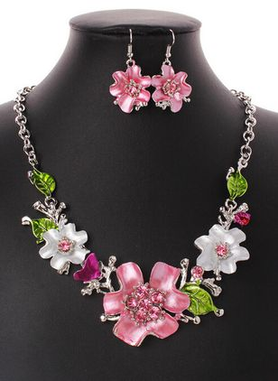 Floral Crystal Necklace Earring Jewelry Sets (1475318)