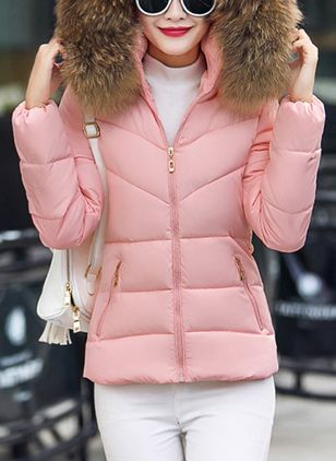 Long Sleeve Hooded Zipper Pockets Unremovable Fur Collar Padded Coats