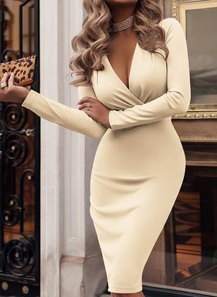 Casual Solid Pencil V-Neckline Bodycon Dress (101985826)