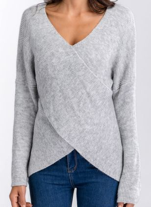 V-Neckline Solid Regular Shift Sweaters (1256870)