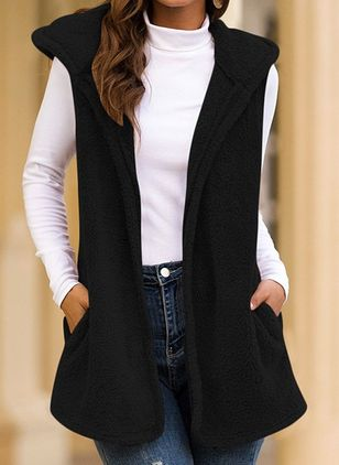 Sleeveless Hooded Pockets Sleeveless Coats (4541799)