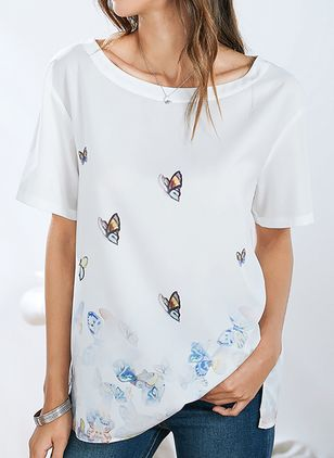Animal Casual Round Neckline Short Sleeve Blouses (1493025)