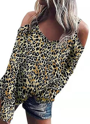 Leopard Sexy Camisole Neckline Long Sleeve Blouses (106821610)