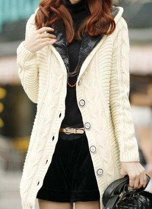 Long Sleeve Hooded Buttons Coats (107952985)