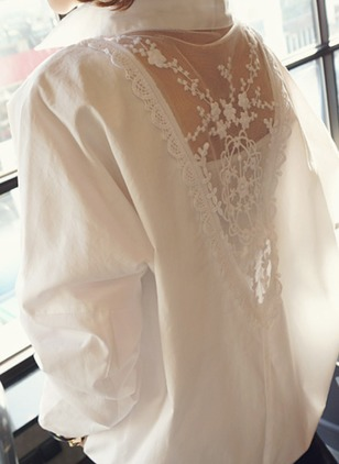 Solid Vintage Chiffon Collar Long Sleeve Blouses