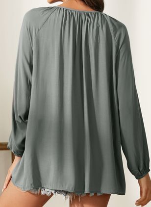 Solid V-Neckline Long Sleeve Blouses (1229065)