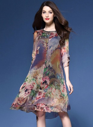Chiffon Floral 3/4 Sleeves High Low A-line Dress