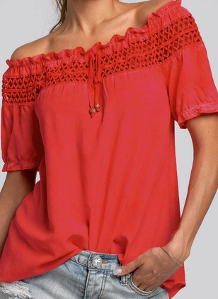 Solid Casual Boat Neckline Short Sleeve Blouses