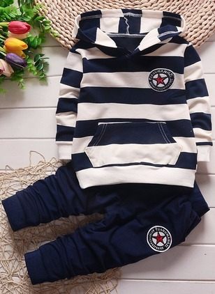 Boys' Color Block Daily Long Sleeve Clothing Sets