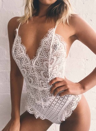 Polyester Solid Sleeveless Sexy Lace Jumpsuits & Rompers