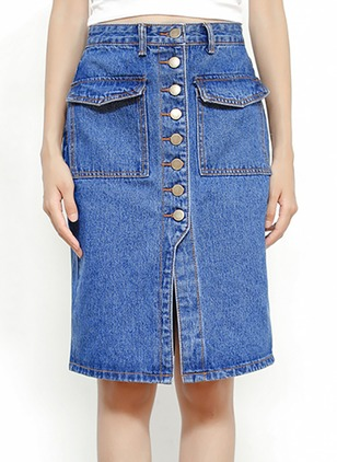 Denim Solid Above Knee Casual Blue Skirts