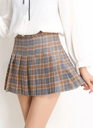 Cotton Blends Check Above Knee Casual None Skirts