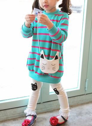 Girls' Cute Stripe Going out Long Sleeve Clothing Sets