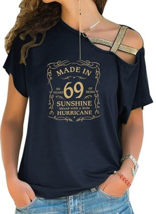 Alphabet Oblique Neckline Short Sleeve Casual T-shirts