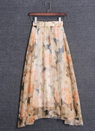 Floral Mid-Calf Casual Skirts (5502449)