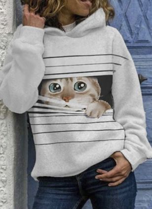 Animal Casual Round Neckline Sweatshirts (146712238)